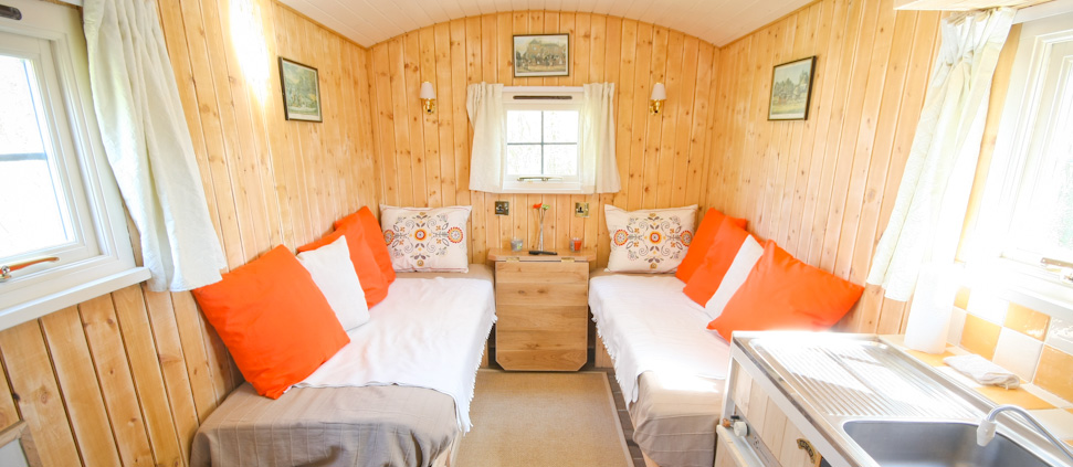 Inside Luxury Shepherd's Hut - Malvern Glamping Holiday
