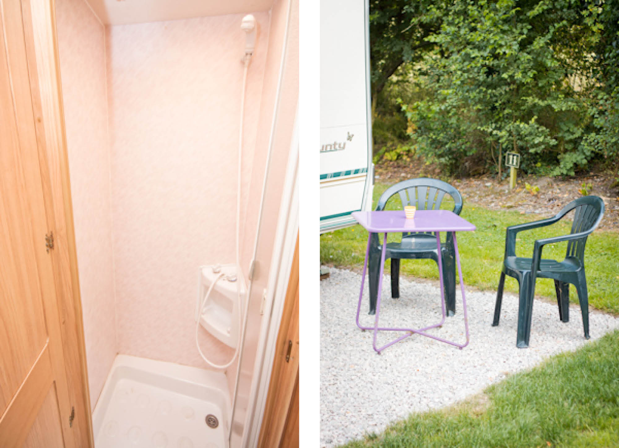 Chairs + Table + Shower with Country Caravan - Glamping